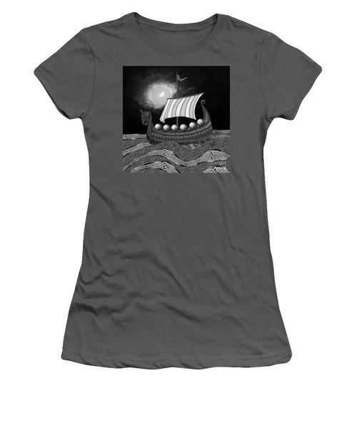 Women's T-Shirt (Athletic Fit) featuring the digital art Viking Ship_bw by Megan Dirsa-DuBois
