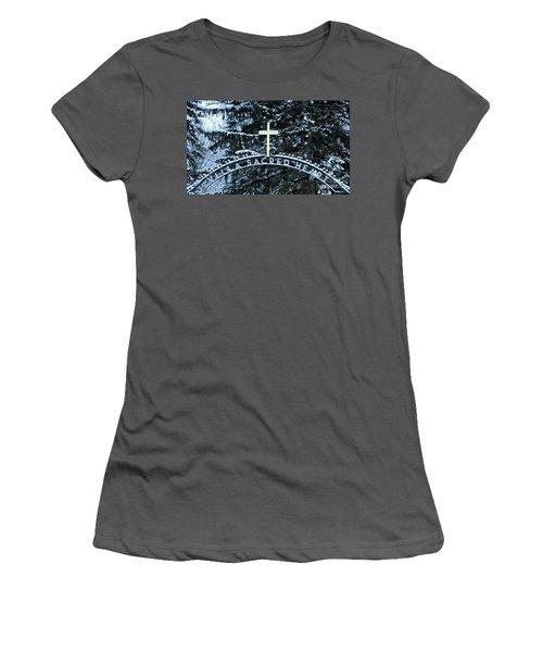 Women's T-Shirt (Junior Cut) featuring the photograph Villa Sacred Heart Winter Retreat Golden Cross by John Stephens