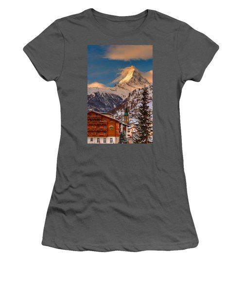 Village Of Zermatt With Matterhorn Women's T-Shirt (Athletic Fit)