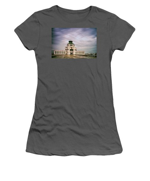 Vintage Architectural Photograph Of The 1940 Air Terminual Museum - Hobby Airport Houston Texas Women's T-Shirt (Athletic Fit)