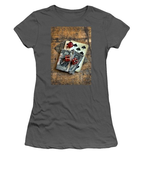 Vintage Cards Dice And Cash Women's T-Shirt (Athletic Fit)