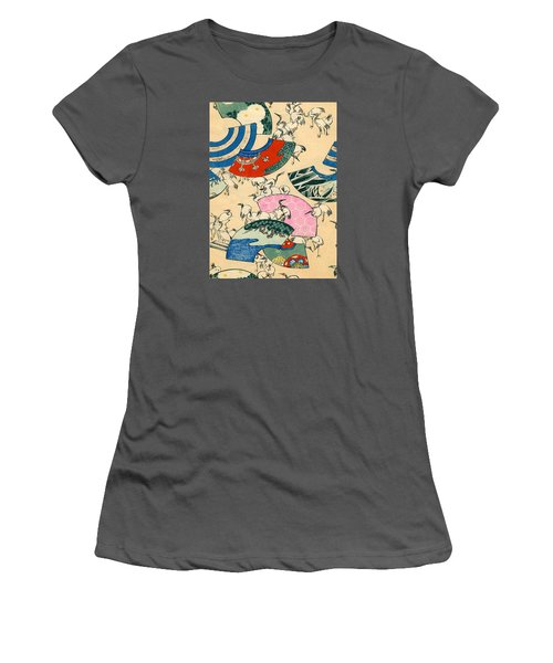 Vintage Japanese Illustration Of Fans And Cranes Women's T-Shirt (Athletic Fit)