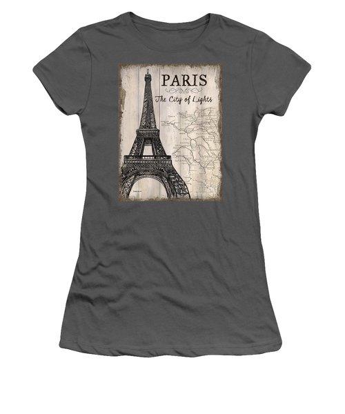 Vintage Travel Poster Paris Women's T-Shirt (Junior Cut) by Debbie DeWitt