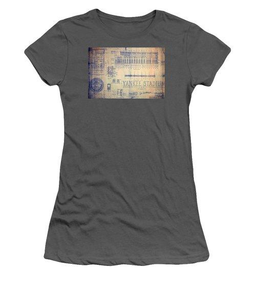 Vintage Yankee Stadium Blueprint Signed By Joe Dimaggio Women's T-Shirt (Athletic Fit)