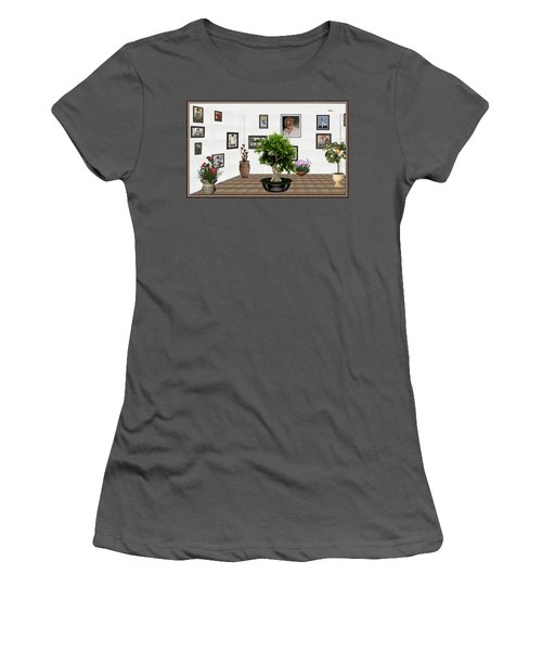 Women's T-Shirt (Junior Cut) featuring the mixed media Virtual Exhibition -  Bonsai 13 by Pemaro