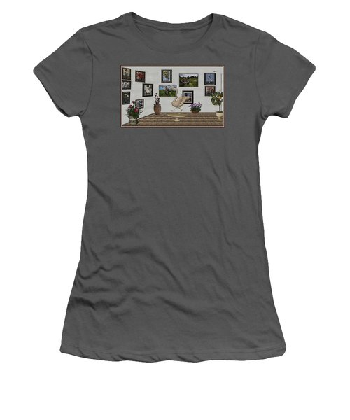 Women's T-Shirt (Junior Cut) featuring the mixed media virtual exhibition_Statue of swan 23 by Pemaro