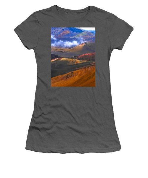 Women's T-Shirt (Junior Cut) featuring the photograph Volcanic Crater In Maui by Debbie Karnes