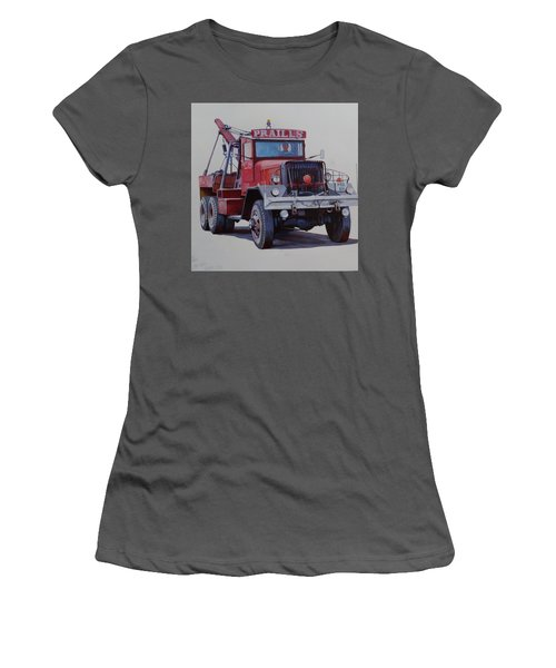Women's T-Shirt (Junior Cut) featuring the painting Ward La France Wrecker by Mike Jeffries