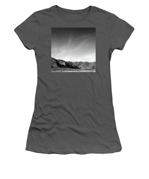 Women's T-Shirt (Athletic Fit) featuring the photograph Wainui Hills Squared In Black And White by Joseph Westrupp