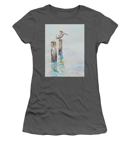 Women's T-Shirt (Junior Cut) featuring the painting Waiting For Lunch by Mary Haley-Rocks