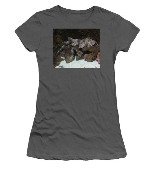 Waiting To Eat You - Spotted Wobbegong Shark Women's T-Shirt (Athletic Fit)