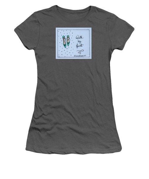 Walk By Faith Women's T-Shirt (Junior Cut) by Elizabeth Robinette Tyndall