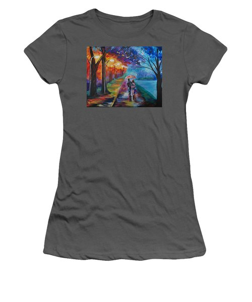 Women's T-Shirt (Junior Cut) featuring the painting Walk By The Lake Series 1 by Leslie Allen