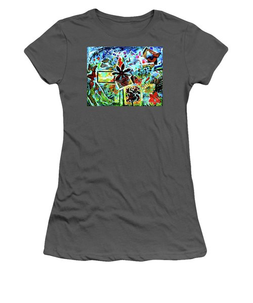 Women's T-Shirt (Junior Cut) featuring the mixed media Walking Amongst The Monarchs by Genevieve Esson