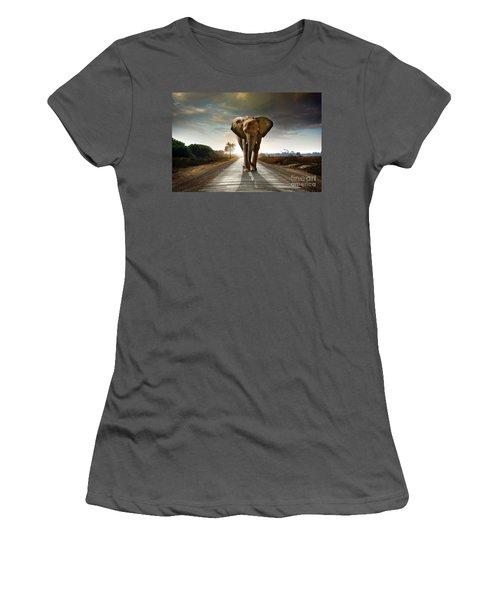 Walking Elephant Women's T-Shirt (Athletic Fit)