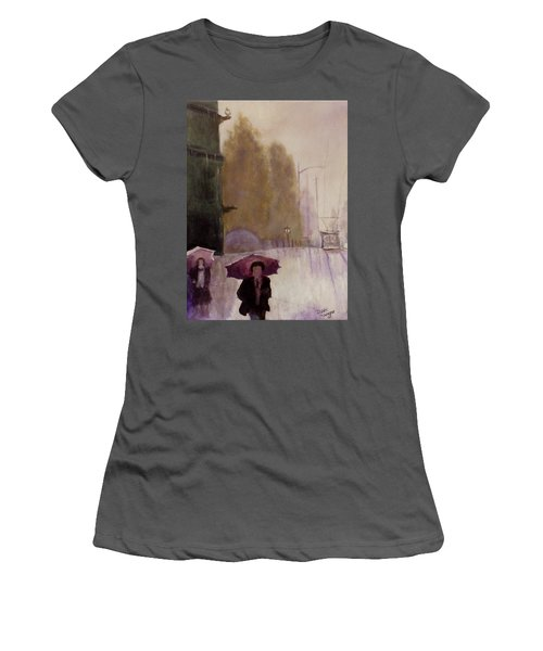 Walking In The Rain Women's T-Shirt (Athletic Fit)