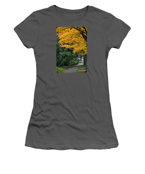 Walkway Under A Canopy Of Yellow Women's T-Shirt (Junior Cut) by Kirt Tisdale