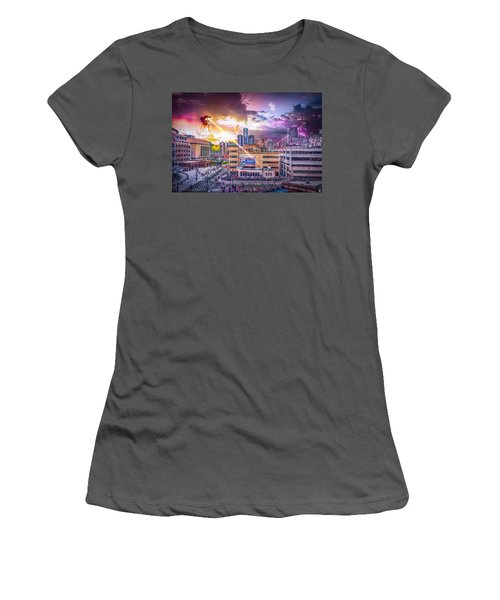 Women's T-Shirt (Junior Cut) featuring the photograph War Of The Worlds Detroit By Nicholas Grunas by Nicholas  Grunas