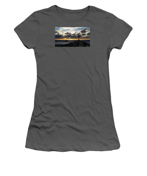 Women's T-Shirt (Junior Cut) featuring the photograph Warning Flag At Sunrise by Robert Banach