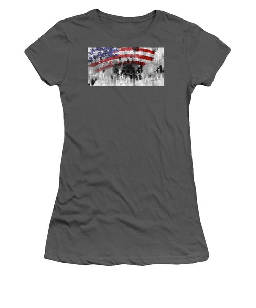 Women's T-Shirt (Junior Cut) featuring the painting Washington Dc Building 01a by Gull G