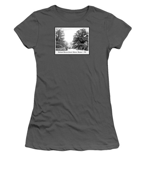 Women's T-Shirt (Junior Cut) featuring the photograph Washington Monument Grounds Baltimore 1900 Vintage Photograph by A Gurmankin