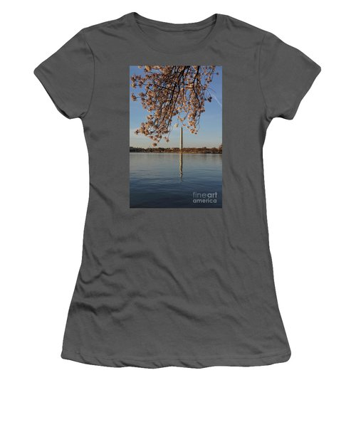 Washington Monument With Cherry Blossoms Women's T-Shirt (Athletic Fit)