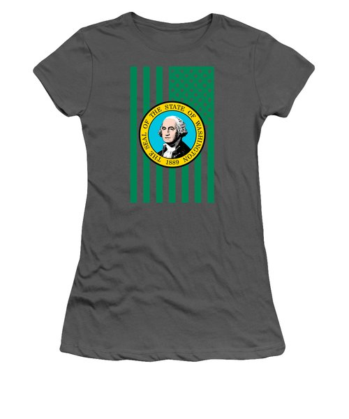Washington State Flag Graphic Usa Styling Women's T-Shirt (Junior Cut) by Garaga Designs