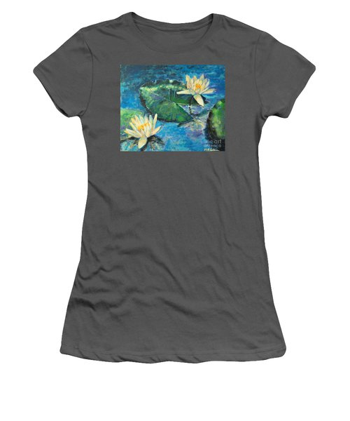 Women's T-Shirt (Junior Cut) featuring the painting Water Lilies by Ana Maria Edulescu