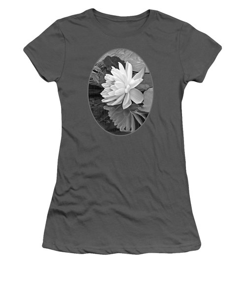 Water Lily Reflections In Black And White Women's T-Shirt (Junior Cut) by Gill Billington