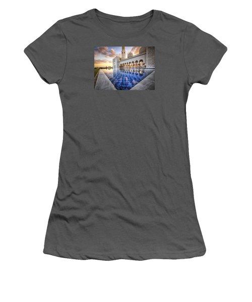 Water Sunset Temple Women's T-Shirt (Junior Cut) by John Swartz