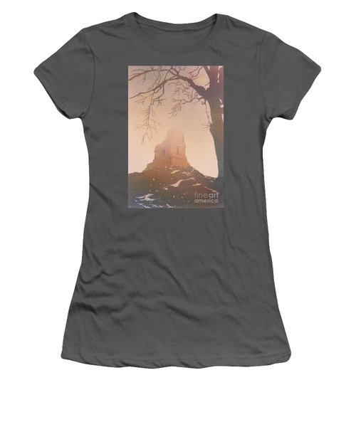 Women's T-Shirt (Junior Cut) featuring the painting Watercolor Painting Of Mayan Temple- Tikal, Guatemala by Ryan Fox