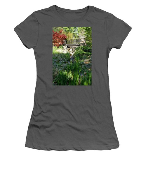 Women's T-Shirt (Athletic Fit) featuring the photograph Waterfall Bridge by Michele Myers