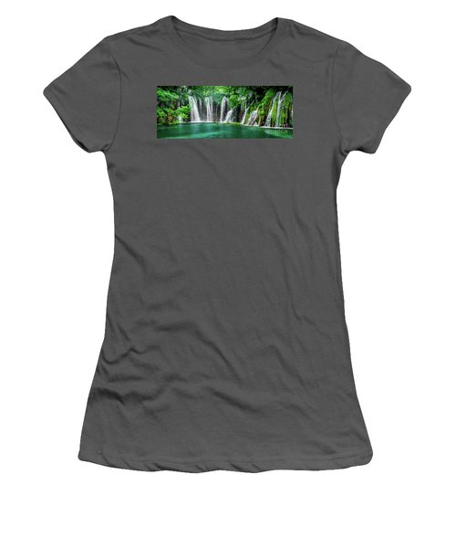 Waterfalls Panorama - Plitvice Lakes National Park Croatia Women's T-Shirt (Athletic Fit)