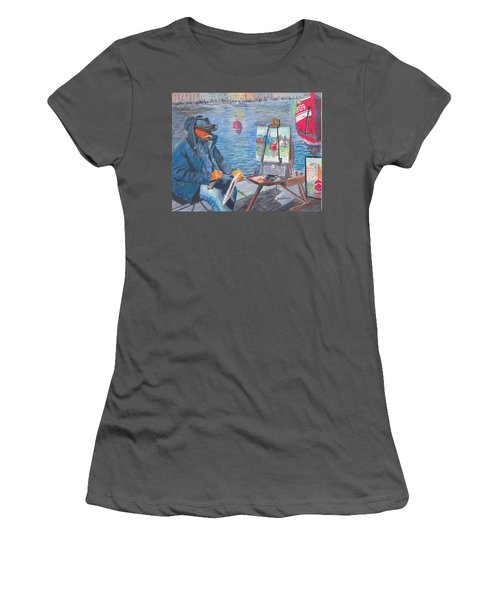 Women's T-Shirt (Junior Cut) featuring the painting Waterfront Artist by Quwatha Valentine