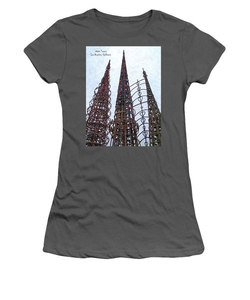 Women's T-Shirt (Junior Cut) featuring the photograph Watts Towers 2 - Los Angeles by Glenn McCarthy Art and Photography