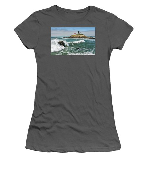 Women's T-Shirt (Junior Cut) featuring the photograph Wave Break And The Lighthouse by Greg Nyquist