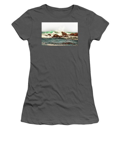 Waves Against The Rocks In Pacific Grove California Women's T-Shirt (Athletic Fit)