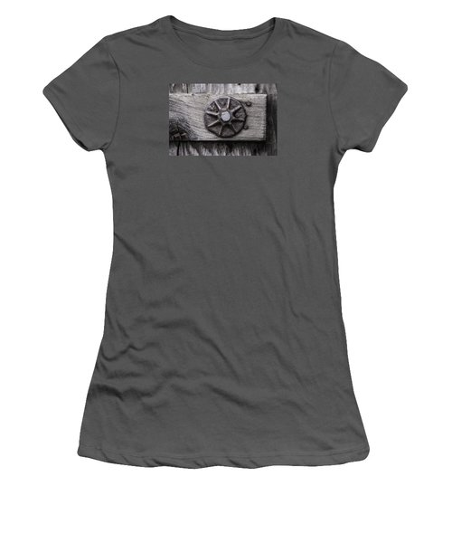 Women's T-Shirt (Junior Cut) featuring the photograph Weathered Wood And Metal One by Kandy Hurley