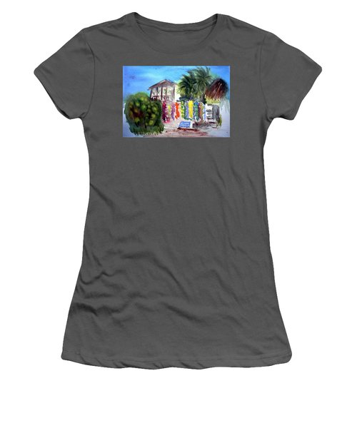 Women's T-Shirt (Junior Cut) featuring the painting West End Market by Donna Walsh