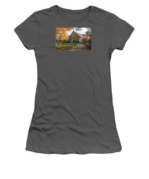 Women's T-Shirt (Junior Cut) featuring the photograph West Parish Chapel In Fall, Andover, Ma by Betty Denise