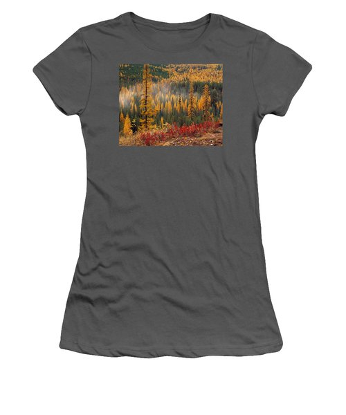 Western Larch Forest Autumn Women's T-Shirt (Athletic Fit)