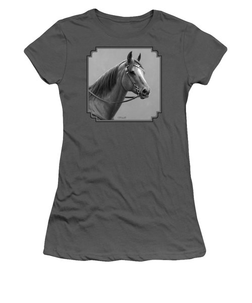 Western Quarter Horse Black And White Women's T-Shirt (Athletic Fit)