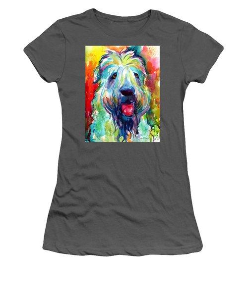 Wheaten Terrier Dog Portrait Women's T-Shirt (Junior Cut) by Svetlana Novikova