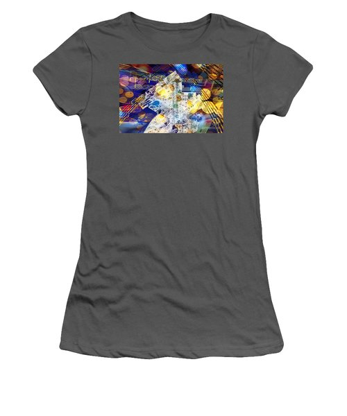 Women's T-Shirt (Athletic Fit) featuring the digital art When Music And Art Embrace by Margie Chapman