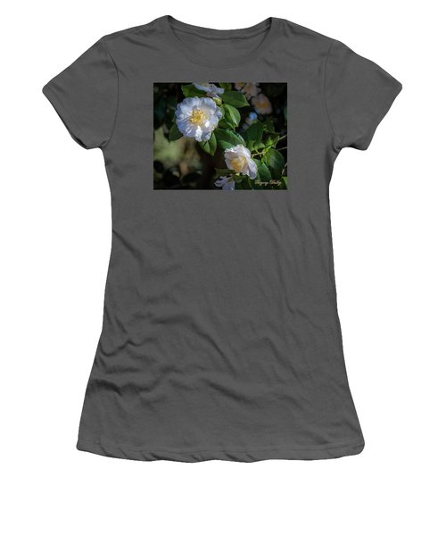 Women's T-Shirt (Junior Cut) featuring the photograph White Camelia 02 by Gregory Daley  PPSA