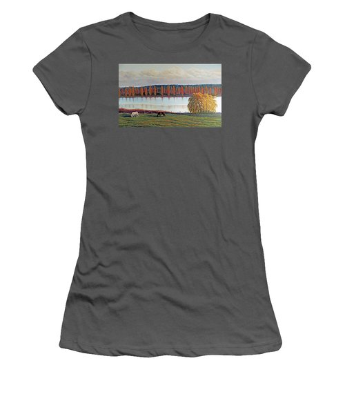 Women's T-Shirt (Junior Cut) featuring the painting White Horse Black Horse by Laurie Stewart