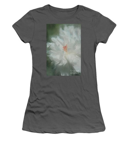 Women's T-Shirt (Junior Cut) featuring the photograph White Peony by Benanne Stiens