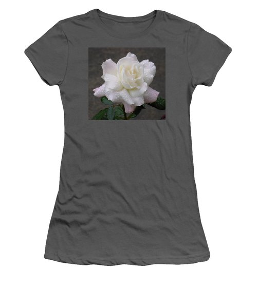 White Rose In Rain - 3 Women's T-Shirt (Junior Cut) by Shirley Heyn