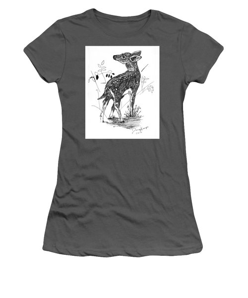 White-tail Fawn -pen And Ink Women's T-Shirt (Junior Cut) by Doug Kreuger