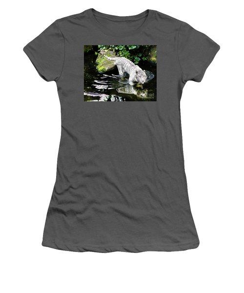 White Tiger Women's T-Shirt (Junior Cut) by M G Whittingham